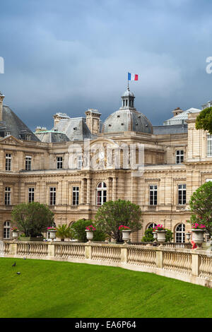 Paris, France - August 10, 2014: Luxembourg Palace facade in Luxembourg Gardens, Paris - Stock Photo