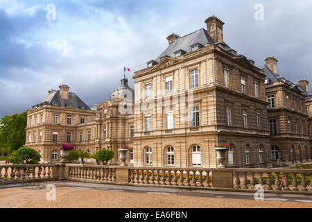 Paris, France - August 10, 2014: Luxembourg Palace facade in Luxembourg Gardens, Paris, France - Stock Photo