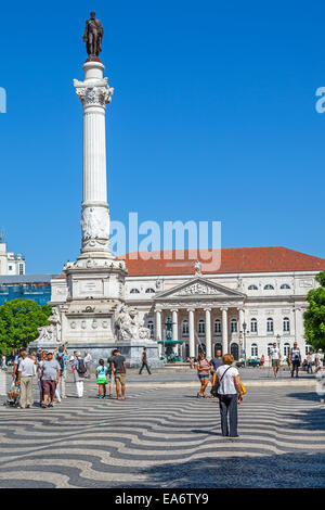 Rossio Square the main square of Lisbon, Portugal, and home of the D. Maria II National Theatre. - Stock Photo
