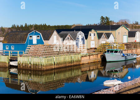 Lobster fishing boat tied up at New London wharf in rural Prince Edward Island, Canada. - Stock Photo