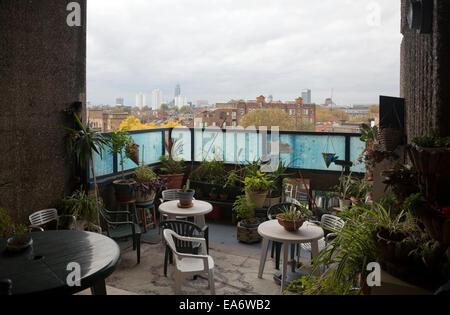 Large Balcony on Perronet House Estate in Elephant and Castle - London UK - Stock Photo