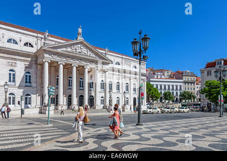 Dona Maria II National Theatre in Dom Pedro IV Square, better known as Rossio, the main square of Lisbon, Portugal. - Stock Photo