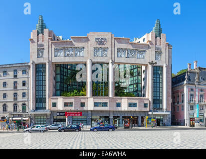 Eden Hotel in the Restauradores Square. A former cinema / theater with very relevant art-deco architecture by Cassiano - Stock Photo