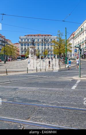 Luis de Camoes Square near the Chiado and Bairro Alto Districts - Stock Photo