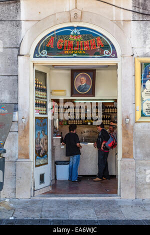 A Ginjinha, the oldest most famous establishment in Lisbon dedicated to sell Ginjinha, a Sour Cherry Brandy typical - Stock Photo