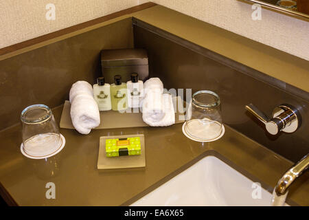 Florida, FL, South, Miami, Intercontinental, hotel hotels lodging inn motel motels, guest room, bathroom, toiletries, - Stock Photo