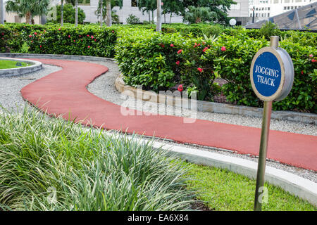 Florida, FL, South, Miami, Intercontinental, hotel hotels lodging inn motel motels, rooftop jogging track, path, - Stock Photo