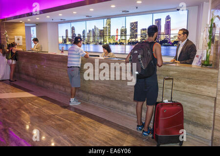 Florida, FL, South, Miami, Intercontinental, hotel hotels lodging inn motel motels, lobby, front desk check in reception - Stock Photo