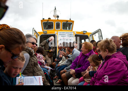 Passengers on board the River Camel Ferry, Rock, Cornwall - Stock Photo