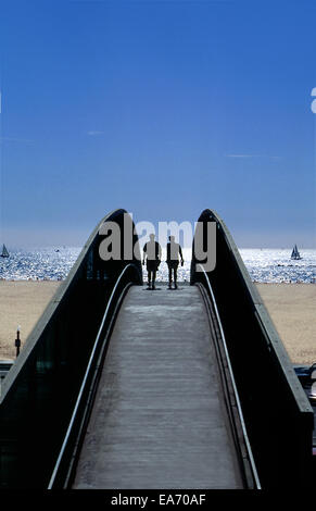 Pedestrian overpass above highway leads to Santa  Monica Beach - Stock Photo
