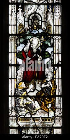 Saint Patrick stained glass, St. Mark`s Church, Leamington Spa, UK - Stock Photo