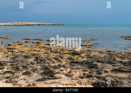 South east coastline of Cyprus in the Nissi Beach and Ayia Nappa area. - Stock Photo
