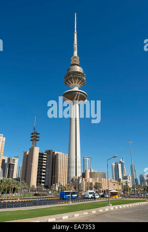 Liberation Tower in Kuwait City, Kuwait - Stock Photo