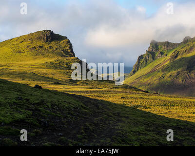 Typical landscape of the Iceland green hills - Stock Photo