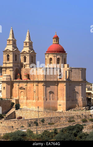 Church of Our Lady of Victory on a rocky plateau of the Mellieha Ridge - Mellieha, Malta - Stock Photo