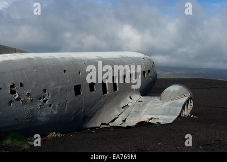 Wreck of a US military plane crashed in the middle of the nowhere. The plane ran out of fuel and crashed in a desert - Stock Photo