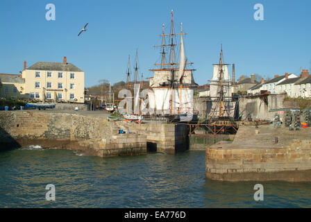 Kaskelot & Phoenix tall ships in Charlestown Harbour Cornwall - Stock Photo