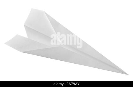 Isolated white paper airplane. Clipping Path - Stock Photo