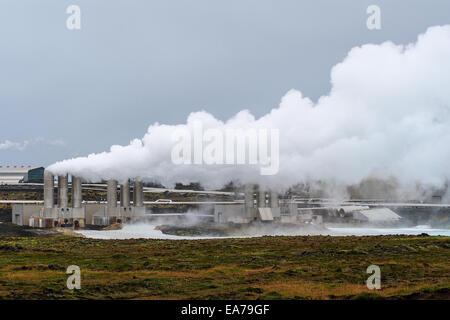 Geothermal field of Gunnuhver, Reykjanes Geothermal Power Plant (Reykjanesviti lighthouse Reykjanes Peninsula, Iceland - Stock Photo