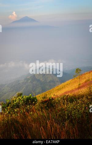 Mount Cikuray seen from Mount Guntur's peak. - Stock Photo