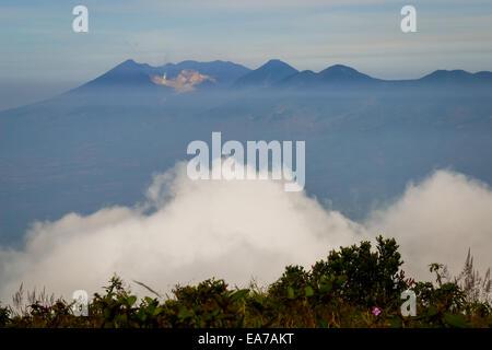 The active crater of Mount Papandayan seen from Mount Guntur's peak. - Stock Photo