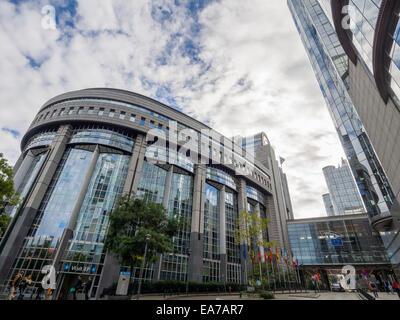 European Union Parliament building in Brussels, Belgium, Europe - Stock Photo