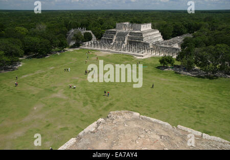 Aerial view of the Temple of the Warriors in the Chichen Itza ruins in the Mayan Riviera, Yucatan Peninsula, Mexico - Stock Photo