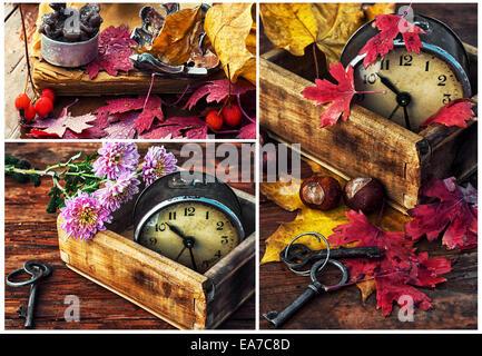 rainy autumn weather,old clock,fallen leaves - Stock Photo