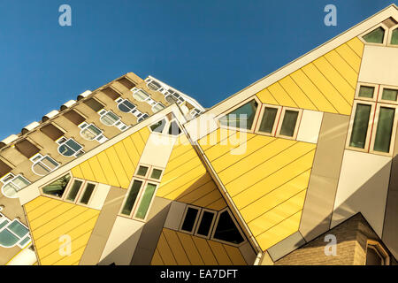 Tilted low angle view of the Cube houses-  built in Rotterdam, South Holland, The Netherlands, designed by architect - Stock Photo