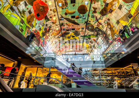 Interior view of the new Market hall or in Dutch Markthal Rotterdam in Rotterdam, South Holland, The Netherlands. - Stock Photo