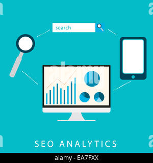 SEO analytics flat graphic design for search engine optimization concept in vector - Stock Photo