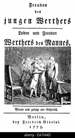 Satire on Goethe's Werther, The Joys of Young Werther, Freuden des jungen Werthers (1775), by Christoph Friedrich - Stock Photo