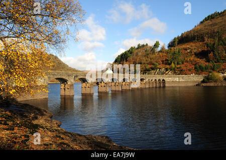 Garreg Ddu Reservoir in autumn Elan Valey Rhayader Powys Wales Cymru UK GB - Stock Photo