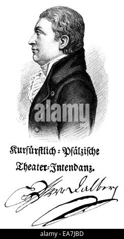 Wolfgang Heribert Tobias Dalberg, 1750 - 1806, director of the Mannheim Court Theater, Wolfgang Heribert Tobias - Stock Photo