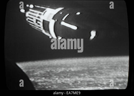 First moon exploration landing 20 July 1969 photographed live on the television in Los Angeles, California USA  - Stock Photo