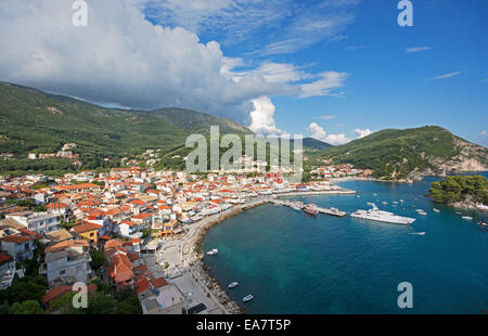 EPIRUS, GREECE. An elevated view of the town and bay of Parga on the Ionian coast. 2014. - Stock Photo