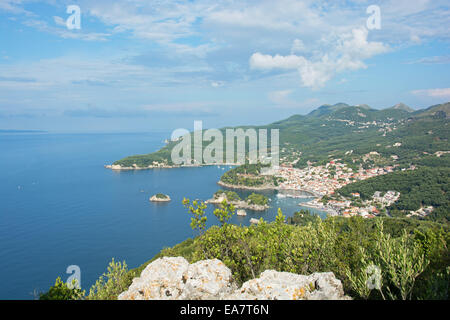 EPIRUS, GREECE. An elevated view of Parga and the Ionian coast. 2014. - Stock Photo