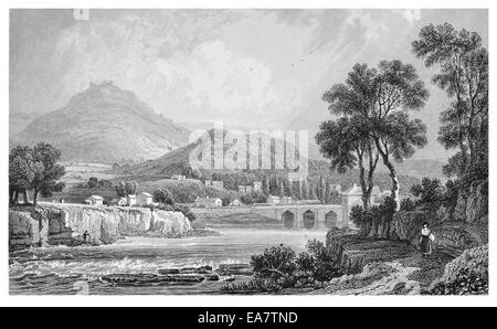 Llangollen Denbighshire River Dee  Berwyn mountains in distance circa 1830 - Stock Photo