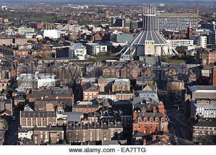 View of The Liverpool Catholic Cathedral and Hope Street (right) viewed from the Anglican Cathedral - Stock Photo