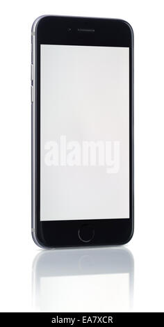 Apple Space Gray iPhone 6 showing blank screen. - Stock Photo
