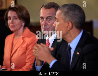 Washington, DC, US. 7th Nov, 2014. United States President Barack Obama meets with bipartisian congressional leadership - Stock Photo