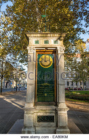 Geographical coordinates of Zagreb, Zrinjevac or Josip Juraj Strossmayer park and square, Zagreb, Croatia - Stock Photo