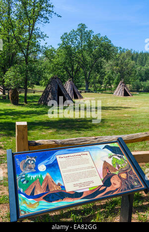 Traditional Miwok bark houses (U Macha) at Indian Grinding Rock State Historic Park, Amador County, California, - Stock Photo