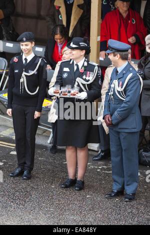 8th November 2014, Lord Mayor's Show, City of London, London, UK. Members of St John Ambulance await the arrival - Stock Photo