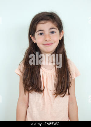 Portrait of 7 year old girl - Stock Photo