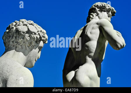 side view of the replica of the David by Michelangelo located in Piazza della Signoria in Florence, Italy - Stock Photo