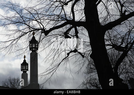 Lanterns in front of the Russian Memorial Church in Leipzig, Saxony, Germany. - Stock Photo