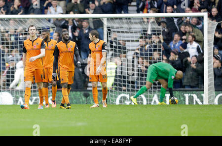Derby, UK. 8th Nov, 2014. Dejection for Wolverhampton Wanderers following the second goal for Derby - Football  - Stock Photo