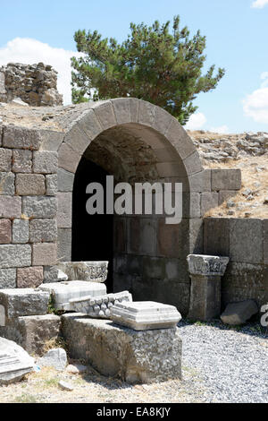 Entrance to the 80 metre long vaulted Roman tunnel in the Asklepieion sacred area. Pergamum, Bergama, Turkey. The - Stock Photo