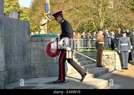Winchester, Hampshire, UK. 9th November, 2014.  Highlights from Remembrance Day 2014 at The Winchester War Memorial. - Stock Photo